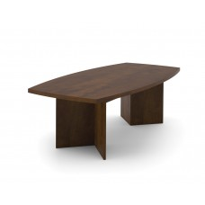 """BESTAR boat shaped conference table with 1 3/4"""" melamine top in Chocolate"""