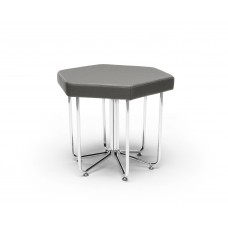 Hex Series Stool with Chrome Frame, Slate Gray