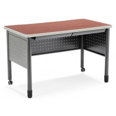 """OFM Mesa Series Mobile Training Table / Desk with Drawers, 25.5"""" x 47.25"""", Cherry"""