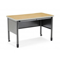 """OFM Mesa Series Mobile Training Table / Desk with Drawers, 25.5"""" x 47.25"""", Oak"""