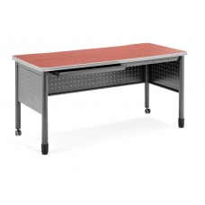 """OFM Mesa Series Mobile Training Table / Desk with Drawers, 27.75"""" x 55"""", Cherry"""