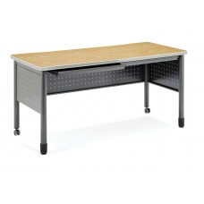 """OFM Mesa Series Mobile Training Table / Desk with Drawers, 27.75"""" x 55"""", Oak"""