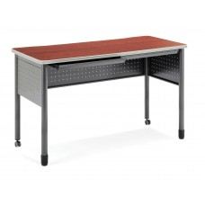 """OFM Mesa Series Mobile Standing Height Desk with Drawers, 27"""" x 55"""", Cherry"""