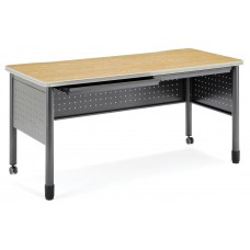 """OFM Mesa Series Mobile Training Table / Desk with Drawers, 27.75"""" x 59"""", Oak"""