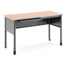"""OFM Mesa Series Mobile Standing Height Desk with Drawers, 27"""" x 59"""", Maple"""