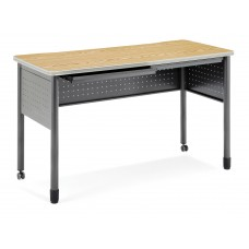 """OFM Mesa Series Mobile Standing Height Desk with Drawers, 27"""" x 59"""", Oak"""