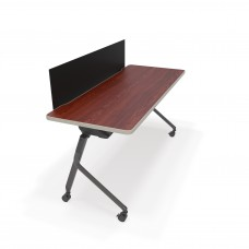 """Mesa Series Nesting Training Table/Desk with Privacy Panel 23.50"""" x 59"""", Cherry/Black"""