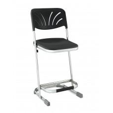 "22"" Elephant Z-Stool Black Seat Blow Molded Chrome Frame w/ Adjustable Backrest"
