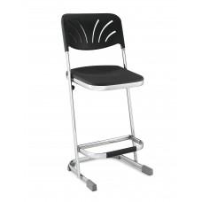"24""Elephant Z-Stool Black Seat Blow Molded Chrome Frame w/ Adjustable Backrest"