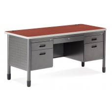 OFM Mesa Series 5-Drawer Steel Desk with Laminate Top, Cherry