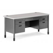 OFM Mesa Series 5-Drawer Steel Desk with Laminate Top, Gray Nebula