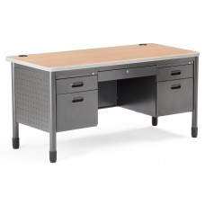 OFM Mesa Series 5-Drawer Steel Desk with Laminate Top, Maple