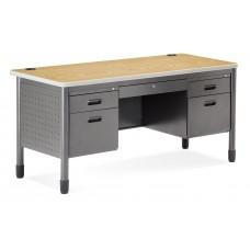 OFM Mesa Series 5-Drawer Steel Desk with Laminate Top, Oak