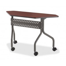 "OfficeWorks Mobile Training Table, 48"" Trapezoid - Mahogany"