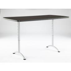 ARC 36x72 Adj Rectangular Table, Grey Walnut/ Silver