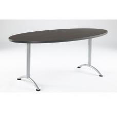 ARC 36x72 Oval Table, Grey Walnut / Silver Leg