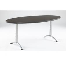 ARC 36x72 Adj Oval Table, Grey Walnut / Silver Leg