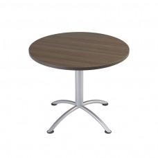 "Edgeband 36""Round Table, 29""H, Natural Teak, Silver base"