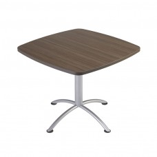 "Edgeband 36""Square Table, 29""H, Natural Teak, Silver Base"