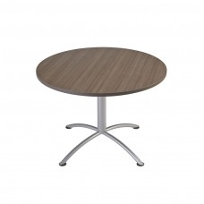 "Edgeband 42""Round Table, 29""H, Natural Teak, Silver Base"