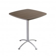 "Edgeband 36""Square Table,42""H, Natural Teak, Silver Base"