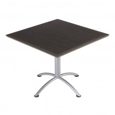 "Urethane 36""Square Table, 29""H, Grey Walnut, Silver Base"
