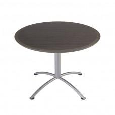 "Urethane 42""Round Table, 29""H, Grey Walnut, Silver Base"