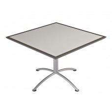 "Urethane 42""Square Table, 29""H, Grey, Silver Base"