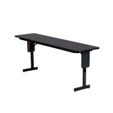 "Adjustable Height 3/4"" High Pressure Folding Seminar Table with Panel Leg - 18x60"" - Walnut"
