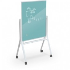 White Visionary Curve Mobile Glass Whiteboard - 3 X 4 - Light Blue