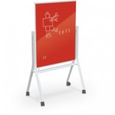 White Visionary Curve Mobile Glass Whiteboard - 3 X 4 - Deep Red