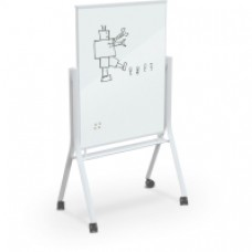 White Visionary Curve Mobile Glass Whiteboard - 3 X 4 - White Low Iron