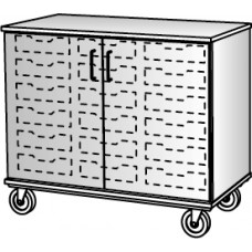 """36"""" Tall - Closed Bin Storage With Doors and 18 (3"""") Trays, No Lock"""