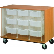"""36"""" Tall - Closed Bin Storage With Doors and 9 (6"""") Trays w/ Lock"""
