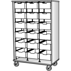 """67"""" Tall - Open Bin Storage, 18 (6"""") Trays - Without Doors"""