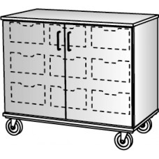 """36"""" Tall - Closed Bin Storage With Doors and 9 (6"""") Trays, No Lock"""