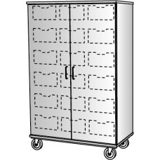 "67"" Tall - Closed Bin Storage, 18 (6"") Trays - With Doors, No Lock"