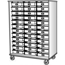 """67"""" Tall - Open Tray Storage, 36 (3-1/2"""") Trays - Without Doors"""