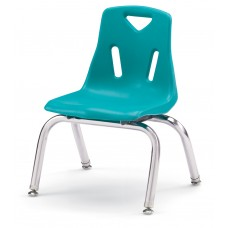 """Berries® Stacking Chairs with Chrome-Plated Legs - 10"""" Ht - Set of 6 - Teal"""