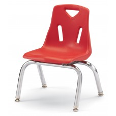 """Berries® Stacking Chairs with Chrome-Plated Legs - 10"""" Ht - Set of 6 - Red"""