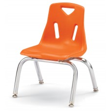 """Berries® Stacking Chairs with Chrome-Plated Legs - 10"""" Ht - Set of 6 - Orange"""