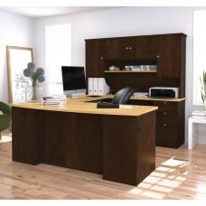 Manhattan U-shaped workstation in Secret Maple & Chocolate