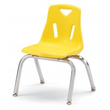 """Berries® Stacking Chairs with Chrome-Plated Legs - 12"""" Ht - Set of 6 - Yellow"""