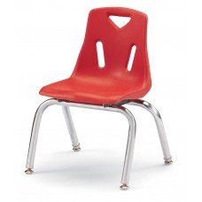 """Berries® Stacking Chairs with Chrome-Plated Legs - 12"""" Ht - Set of 6 - Red"""
