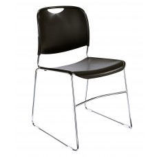 Black Hi-Tech Ultra-Compact Plastic Seat/Back Stack Chairs