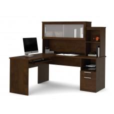 Dayton by Bestar L-Shaped desk in Chocolate