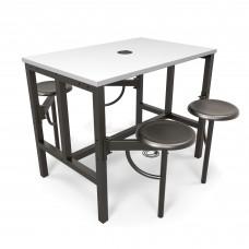 OFM Endure Series Standing / Counter Height 4 Seat Table, Dark Vein/White