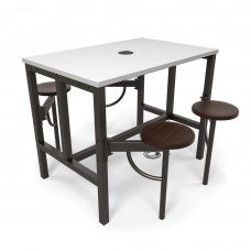 OFM Endure Series Standing / Counter Height 4 Seat Table, Walnut/White