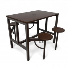 OFM Endure Series Standing / Counter Height 4 Seat Table, Walnut/Walnut