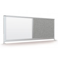 "Desktop Privacy Panel - 66"" Combo (Porcelain/Pebbles Vinyl - Lt Quarry)"
